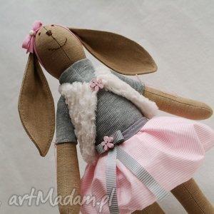 maskotki żona marynarza, królik, maskotka, szmacianka, roczek, chrzest, różowa