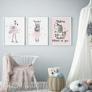 Plakaty skandynawskie dla dziewczynki, zestaw A3 , dziecko, ozdoba