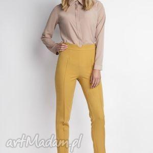 Spodnie, SD112 musztarda, wysokie, musztardowe, długie, zamek, eleganckie, kobiece