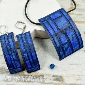 Prezent Geometria - komplet biżuterii w odcieniach granatu, granatowa-biżuteria