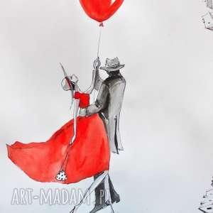 jeśli latać, to razem praca akwarelą i piórkiem artystki plastyka adriany laube