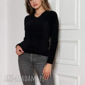 miękki, włochaty sweterek - swe147 czarny, sweter, czarny sweter