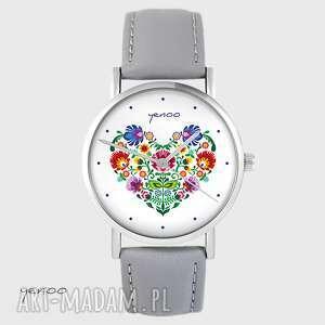 ręcznie robione zegarki zegarek yenoo - folkowe serce szary, skórzany