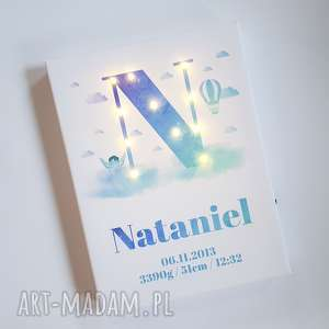 świecąca metryczka imię prezent personalizowany urodziny roczek akwarela litera