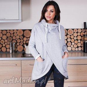 hand-made bluzy unikatowa szara asymetryczna bluza z kominem