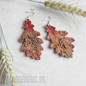 Czerwone kolczyki w formie liści sirius92 liście, z-efektem rdzy