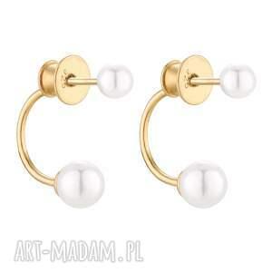 złote kolczyki z perłami swarovski® crystal sotho - eleganckie