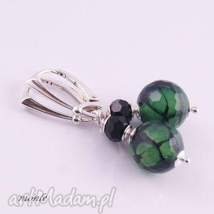 zielony wąż kolczyki z agatu - swarovski, zielone, srebro