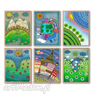zestaw 5 prac a4 - widok, obrazek, ilustracja, plakat
