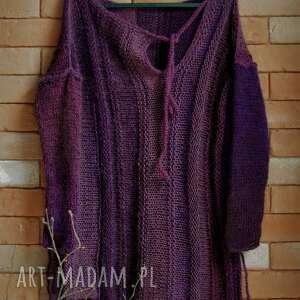sweter mgła, sweter, tunika, na drutach, swetry, wełniany