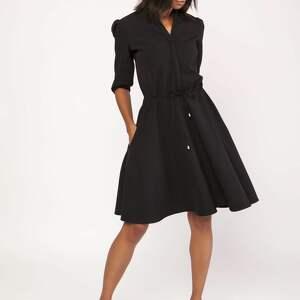 Uniwersalna sukienka z delikatną stójką, SUK156 czarny, stójka, kobieca