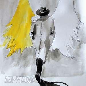 handmade obrazy praca akwarelami i piórkiem anioł w kapeluszu