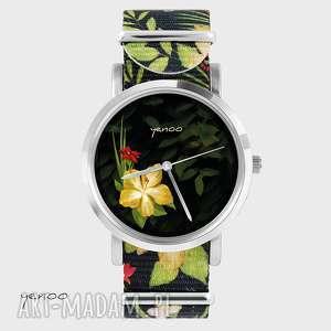 zegarki zegarek, bransoletka - jungle flowers kwiaty, nato