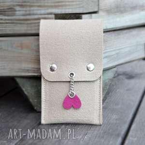 Etui na długopisy i ołówki - beż z różowym sercem, etui, filcowe,
