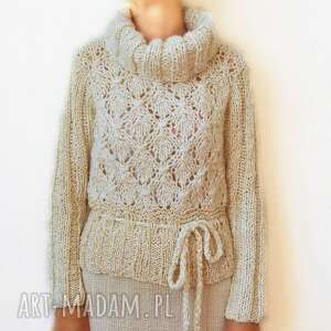 swetry golf - sweter ażurowy ręcznie robiony, sweter, ażurowy, ręcznie, robiony