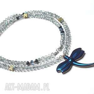 Crystal dragonfly /cobalt/ /alloys collection/ , stal, szlachetna, pozłacane, ważka