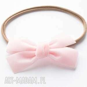 opaska do włosów velvet bow jasny róż, kokarda, aksamitna
