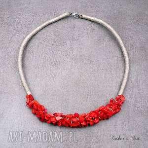koral czerwony - naszyjnik - koral, wieczorowy, len, lniany, eko, koktajlowy