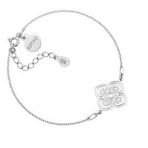srebrna bransoletka z dużą rozetką - łańcuszek