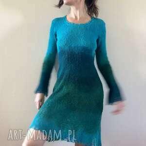 sukienki sukienka z ażurowym wykończeniem, sukienka, bawełna, dzianina, ażurowe