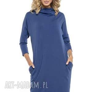 Luźna sukienka z golfem i kieszeniami, T246, chabrowy, luźna, sukienka, golf,