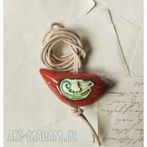 hand-made wisiorki wisior karminowy ptaszek