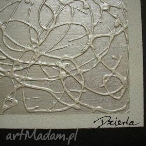 NOWOCZESNY 17 - 120x40cm ręcznie malowany, nowoczesny, obraz, płótnie, srebrny