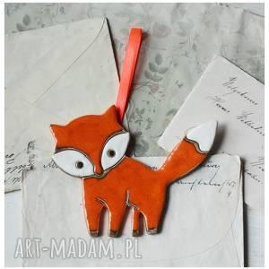 handmade ceramika lisek zawieszka