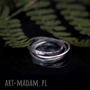 spleciony pierścionek, trinity, składany, trzy, wieloelementowy
