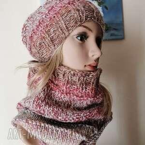pod choinkę prezent, zimowe boho komplet, czapka na drutach, rękodzieło, komin
