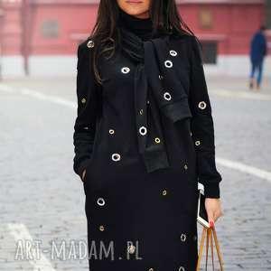bien fashion ciepła sukienka z metalowymi krążkami i szalem, midi, ozdobna