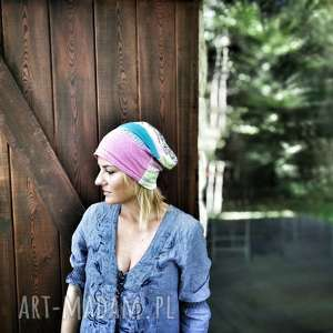 czapka damska pastelowa dzianina, czapka, etno, boho, kolorowa, pastelowa, sport