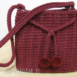 na ramię torebka bordowa, torebka, bag, mała, szydełkowa, crochet