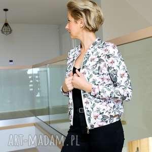 hand-made bluzy damska bomberka w kwiaty, bluza na suwak, wzorzysta kurtka kwiaty