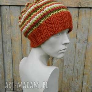 unikalny prezent, czapki czapa wełna 100 pasiak, wool, pasiasta, ciepła, wełniana