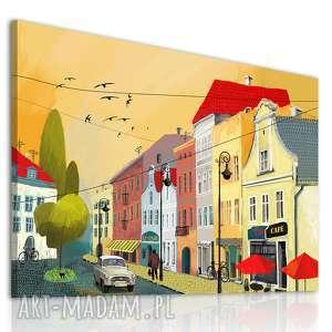 obraz na płótnie - bajkowe kamieniczki - miasteczko w blasku zachodzącego słońca