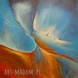 paulina lebida obraz na płótnie - abstrakcja 40/40 cm, abstrakcja, akryl, niebieski