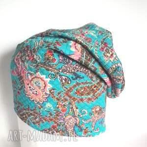 czapka damska bawełna dzianina etno wiosna sport - czapka, etno, boho, sport, kwiaty