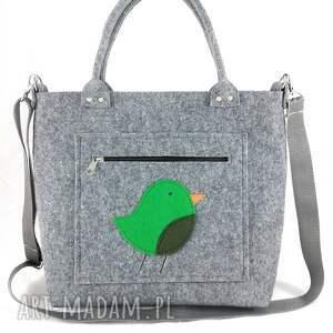Green bird on pocket/strap - ,torebka,ptaszek,filc,