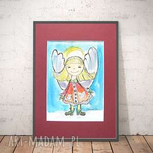 Mały aniołek obrazek, obrazek z aniołkiem, akwarela