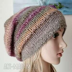 czapki mroźne pastele grubaśna czapka, ręcznie zrobiona, rękodzieło, bezszwowa