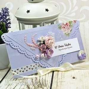 kartka z okazji ślubu - liliowe marenia, ślubna, ślub, wesele, kartka, kopertówka