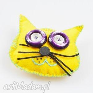 fidelek - kot przypinka - broszka, przypinka, kot, żółty, filc, oryginalny
