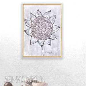 grafika w ramce, rysunek czarno-baiły, nowoczesny obraz ze słonecznikiem