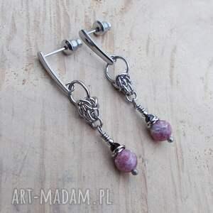 różowe turmaliny splecione, biżuteria ze stali, stal chirurgiczna