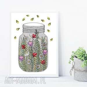 słoik z roślinkami 50x70, plakat, słoik, kwiaty, obraz, grafika