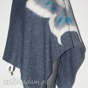 poncho ponczo wełną zdobione , wełna, filcowanie, dzianina, motyle, kwiaty ubrania