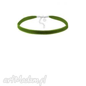 oliwkowy aksamitny choker z regulowanym zapięciem, aksamitka, zielony