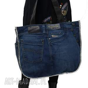 duża torba upcykling jeans diesel 81 od majunto, upcykling, recykling, recycled