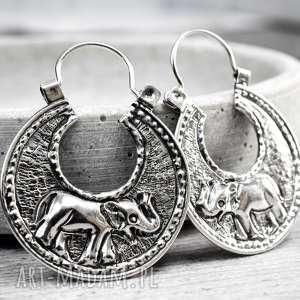 925 Srebrne kolczyki SŁONIE - ,słonie,słoń,srebro,925,koła,kobiece,